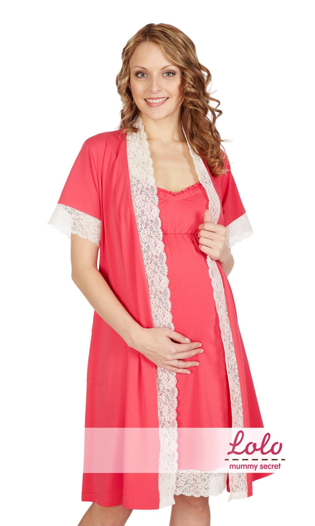 4647c456d52b Халат и ночная сорочка для беременных и кормящих мам Dd001.10 розовый с  кружевом